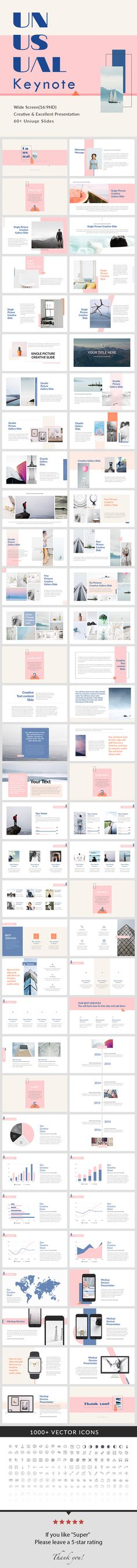 Unusual - Keynote Presentation Template by General Description Wide Screen Size) Free Font Used 66 unique slides Master slides Creative Slides Easy Customize Lat Ui Design, Design Visual, Keynote Design, Slide Design, Book Design, Layout Design, Design Social, Deco Design, Keynote Presentation