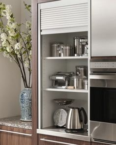 Aluminum Tambour Cabinet - contemporary - Kitchen - Other Metro - Wood-Mode Fine Custom Cabinetry Kitchen Cabinet Storage, Modern Kitchen Cabinets, Kitchen Units, Kitchen Interior, Kitchen Decor, Kitchen Appliances, Small Appliances, Aluminum Kitchen Cabinets, Space Kitchen