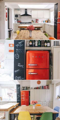 A bright and cheery kitchen in a Victorian home with red smeg fridge, blackboard wall and kitchenaid appliances.
