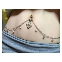 Rhinestone belly button ring body chain ❤ liked on Polyvore featuring jewelry and body chain jewelry