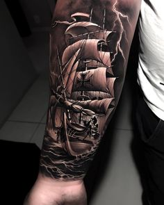 Well, first of all boat tattoo designs can be funny and beautiful. Ship Tattoo Sleeves, Wolf Tattoo Sleeve, Best Sleeve Tattoos, Tattoo Sleeve Designs, Forarm Tattoos, Cool Forearm Tattoos, Leg Tattoos, Pirate Ship Tattoos, Pirate Tattoo