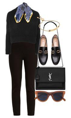 """Untitled #5175"" by olivia-mr ❤ liked on Polyvore featuring Joseph, Topshop, Black, Yves Saint Laurent and CÉLINE"