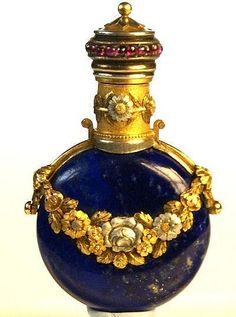 Lapis and Gemset scent Bottle - by Authenticated Internet Auctions