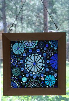 Glass on Glass abstract blues mosaic window by lowlightcreations, $99.00