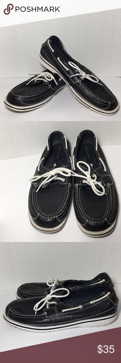 MENS Leather Rockport Shoes Black leather boat shoes with white non marking soles in great used condition Rockport Shoes Boat Shoes