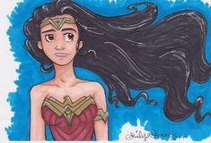 "ORIGINAL ART - ""Wonder Woman"" by Emily Wagner, original 5X7 marker drawing"