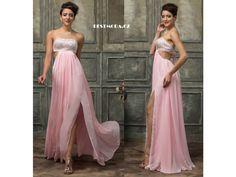 Prom dress, pink color, crystals on bust, open back, luxusní společenské plesové šaty skladem
