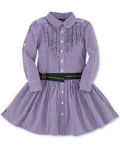 Ralph Lauren Girls Dress, Little Girls Long-Sleeve Gingham Shirtdress - Kids Girls 2-6X - Macy's 49.50