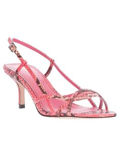 38c5b4b2cde Pink snakeskin effect leather sandal from Jean-Michel Cazabat featuring an  interwoven front strap