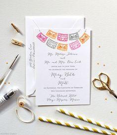 Papel Picado Wedding Invitations, Mexican Wedding Invitation, Set of 100, Front and back printed, Watercolor Papel Picado Wedding Cards