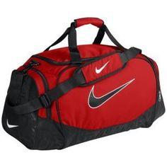 03432b4b81 NIKE Brasilia Medium Red Black Duffle Bag Swoosh Gym Athletic Wet Dry  Storage  sports