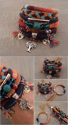 Three of Life Boho Bracelet Bold color scheme by vanessahandmade