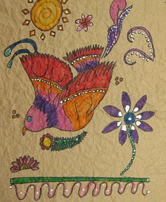 """""""Faux"""" Mexican Bark """"Paintings""""--paper bags, markers, white tempera or correction pens"""
