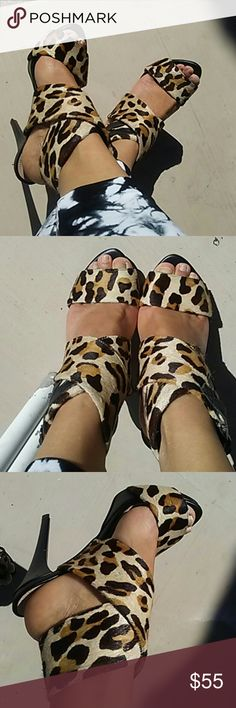 Zara leopard real leather sandals Never worn but no box. Zara Shoes