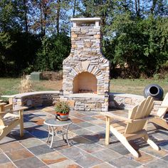Seeking outdoor stone patio ideas or general hard scape design ideas to enhance your outdoor living space? Rustic Outdoor Fireplaces, Outdoor Fireplace Patio, Outside Fireplace, Outdoor Fireplace Designs, Fireplace Ideas, Stone Patio Designs, Brick Fireplaces, Fall Fireplace, Fireplace Seating