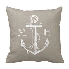 Rustic Vintage Anchor Wedding Monogram Pillows Black Friday sale  For( 28/11/14) Starts Now --- All Pillows 40% Off ---- Code:    ZAZBLACKDEAL------- All orders- 20 % Off------ Free Shipping EBlack