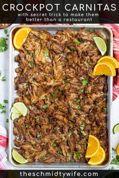 This delicious Crockpot Carnitas Recipe comes together fast using pork butt, spices, onion, orange, & beer. It's better than what you get at a restaurant! Crockpot Carnitas Recipes, Pork Carnitas Recipe, Crockpot Dishes, Pork Recipes, Slow Cooker Recipes, Mexican Food Recipes, Dinner Recipes, Cooking Recipes, Slow Cooking