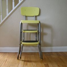 Vintage Yellow Metal Stool