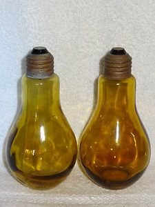 Unusual Vintage Yellow Glass Light Bulb Shaped Salt & Pepper Shakers ...
