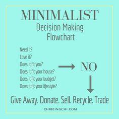 Minimalist decision making flow chart #minimalism