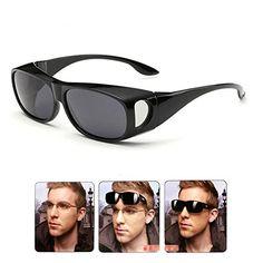 2aaf529cd6b Wear Over sunglasses for men women Polarized lensfit over Prescription Glasses  UV400 Ablack Gray