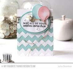 Big Birthday Sentiments Stamp Set, Chevron Fringe Die-namics, Big Birthday Balloons Die-namics, Inside and Out Stitched Oval STAX Die-namics, Stitched Mini Scallop Oval STAX Die-namics - Julia Stainton  #mftstamps