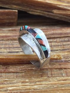 Zuni Turquoise Sterling Spiny Oyster Ring Sz 5 Jet by 22toddities