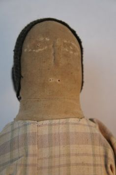 "Antique cloth doll with raised nose 17"" tall"