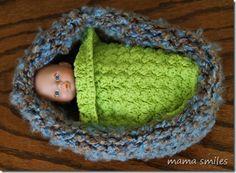 Loom knit doll cradle - Mama Smiles - Joyful Parenting