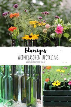 Leere Weinflaschen, egal ob weiß grün oder braun lassen sich gut weiterverwenden. Dieses einfache DIY gelingt bestimmt und holt den Sommer noch ein letztes Mal ins Haus oder in den Garten, bevor der Herbst endgültig Einzug hält. Eine simple Upcyclingidee mit WOW Effekt. Mehr dazu auf meinem Blog. #blumendeko #upcycling #tischleindeckdichblog #DIYIdee Glass Vase, Blog, Home Decor, Empty Wine Bottles, Remove Labels, Summer Flowers, Collection, Interior Design, Home Interior Design