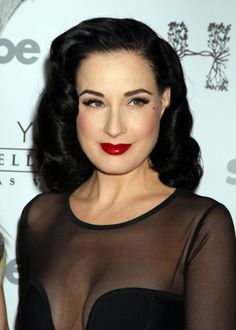 Burlesque icon Dita Von Teese, with a pinup hairstyle - Hair glamour featured Dita Von Teese  Inspiration