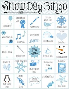 FREE-Printable Snow Day Bingo By: Emily Timmons, Editor, AllFreeKidsCrafts.com Age Group: Toddlers,Whether you need indoor activities for kids or want to send them outdoors, this free printable is stocked with tons of fun boredom busters to entertain your rambunctious little ones. Simply print out this free printable bingo game and help your kids cross out enough activities to get five squares in a row. Use Printable Snow Day Bingo again and again, and you're sure to have a winning day at…