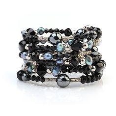 Wrap Bracelet Multi-strand Bracelet Black Onyx Cuff Stacked Bracelet... (£23) ❤ liked on Polyvore featuring jewelry, bracelets, crystal stone jewelry, cuff bangle, stacked bangles, wrap bracelet and crystal jewellery