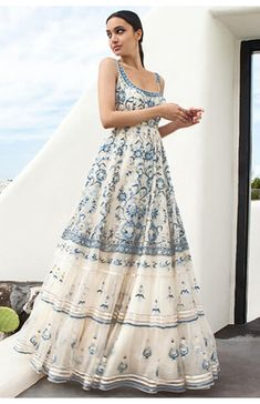 Shop from an exclusive range of luxurious wedding dresses & bridal wear by Anita Dongre. Bring home hand-embroidered wedding wear in colors inspired by nature. Buy now. Indian Gowns Dresses, Indian Fashion Dresses, Dress Indian Style, Indian Designer Outfits, Designer Clothing, Designer Bags, Designer Dresses, Indian Wedding Outfits, Bridal Outfits