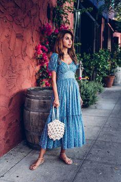 Loveshackfancy angie dress on Mercari Boho Summer Dresses, Blue Dresses, Casual Dresses, Summer Outfits, White Fashion, Look Fashion, Modest Fashion, Fashion Dresses, Viva Luxury