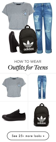 """""""Sin título #487"""" by fridaoviedo on Polyvore featuring 7 For All Mankind, New Look, Converse and adidas Originals"""