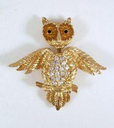 Vintage Owl Brooch Goldtone and Rhinestones Spring by TheOwlLady, $17.00