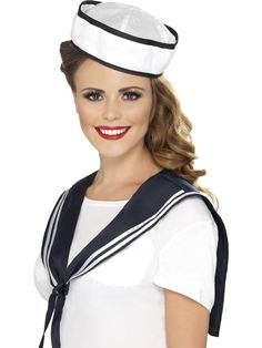 Smiffy's Sailor Instant Kit: Looking for the ultimate disguise? Try a Smiffy's Costume on for size! Perfect for carnival, theme parties and Halloween. Package includes: 1 Smiffy's Women's Sailor Kit: Scarf and Hat, color: White. Fancy Dress Accessories, Costume Accessories, 1940s Hats, Sailor Costumes, Navy Hats, Ladies Fancy Dress, Navy Sailor, Flapper Costume, Flapper Dresses