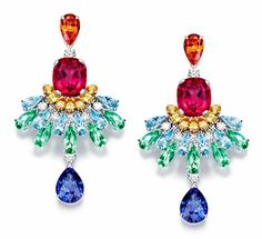 Piaget Rose Passion earrings set with multi-colored gemstones, including aquamarines, rubellites and topaz. Photo courtesy of Piaget