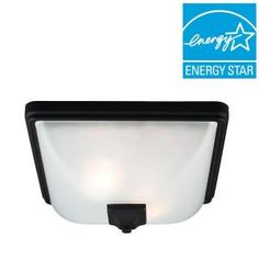 Sea Gull Lighting Irving Park 2-Light Outdoor Black Fluorescent Ceiling Flushmount with Satin Etched Glass-7828402BLE-12 - The Home Depot