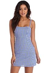 Blue Sun Day Gingham Dress