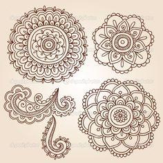 Henna Tattoo Paisley Flower Doodles Vector — Stock Vector © blue67 #