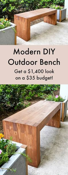 DIY Furniture Store KnockOffs - Do It Yourself Furniture Projects Inspired by Pottery Barn, Restoration Hardware, West Elm. Tutorials and Step by Step Instructions  |   Williams Sonoma Inspired DIY Outdoor Bench  |   http://diyjoy.com/diy-furniture-store-knockoffs