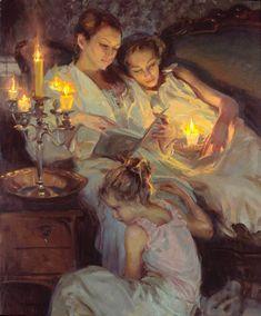 Daniel Gerhartz - Reading by candlelight. So beautiful. Book art