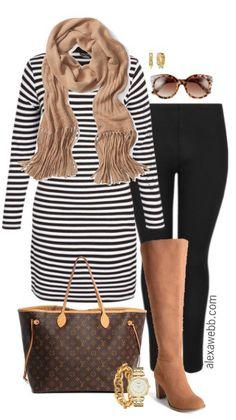 Plus Size Striped Tunic Outfit - Plus Size Fashion for Women - alexawebb.com Alexa Webb