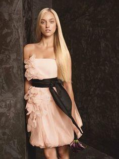 Vera Wang White Label Blush Bubble Dress With Asymmetrical Organza Petals Vw360094 Dress $160