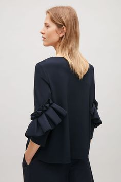 COS top with frill detailed sleeves