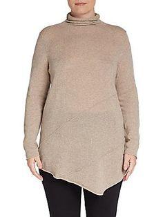 Cullen, Plus Size Turtleneck Cashmere Sweater - Driftwood - Size 1X (1