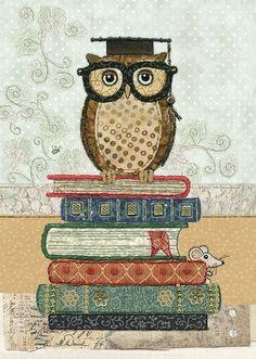 Bug Art a030 Book Owl greetings card