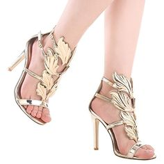 quality design d9291 4f713 Shoe N Tale Women s High Heel Gladiator Sandals Gold Flame Party Dress  Stiletto Shoes    You can find out more details at the link of the image.